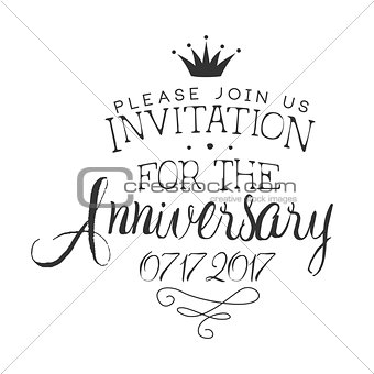 Anniversary Party Black And White Invitation Card Design Template With Calligraphic Text