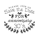 Wedding Anniversary Party Black And White Invitation Card Design Template With Calligraphic Text