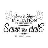 Wedding Black And White Invitation Card Design Template With Calligraphic Text With Doves