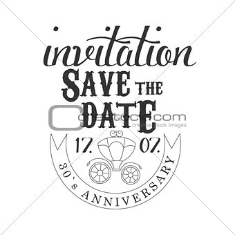 Anniversary Party Black And White Invitation Card Design Template With Calligraphic Text And Carriage