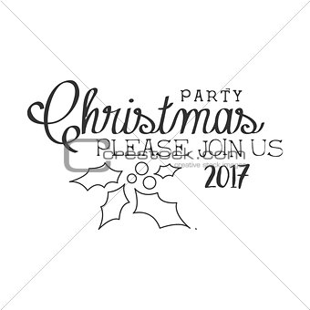 2017 Christmas Party Black And White Invitation Card Design Template With Calligraphic Text