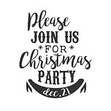 Christmas Party Black And White Invitation Card Design Template With Calligraphic Text
