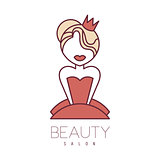Natural Beauty Salon Hand Drawn Cartoon Outlined Sign Design Template With Princess In Red Dress