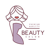 Natural Beauty Salon Hand Drawn Cartoon Outlined Sign Design Template With Blond Female Character Stylized To Underline Text With Arm