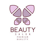 Natural Beauty Salon Hand Drawn Cartoon Outlined Sign Design Template With Simple Geometric Shape Violet Butterfly