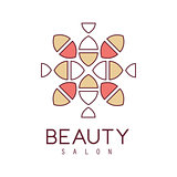 Natural Beauty Salon Hand Drawn Cartoon Outlined Sign Design Template With Stylized Simple Geometric Pattern In Red And Yellow