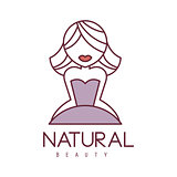 Natural Beauty Salon Hand Drawn Cartoon Outlined Sign Design Template With Blond Girl With Short Hair In Violet Dress