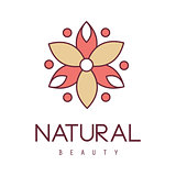 Natural Beauty Salon Hand Drawn Cartoon Outlined Sign Design Template With Red And Yelow Stylized Geometric Flower