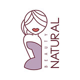 Natural Beauty Salon Hand Drawn Cartoon Outlined Sign Design Template With Half Body Of Blond Woman In Violet Dress