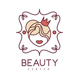 Natural Beauty Salon Hand Drawn Cartoon Outlined Sign Design Template With Woman Head In Crown In Floral Frame