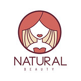 Natural Beauty Salon Hand Drawn Cartoon Outlined Sign Design Template With Portrait Of Woman Behind Red Curtain In Round Frame