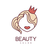 Natural Beauty Salon Hand Drawn Cartoon Outlined Sign Design Template With Portrait Of Princess In Crown