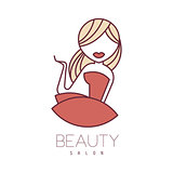 Natural Beauty Salon Hand Drawn Cartoon Outlined Sign Design Template With Blond Girl In Red Dress