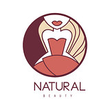 Natural Beauty Salon Hand Drawn Cartoon Outlined Sign Design Template With Girl In Red Dress Below Eyes In Round Frame