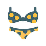 Bikini Female Swimsuit In Blue And Yellow With Polka-Dotted Pattern, Part Of Summer Beach Vacation Series Of Illustrations