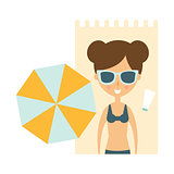 Woman Laying On Blanket On Sand Under Umbrella, Part Of Summer Beach Vacation Series Of Illustrations