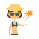 Woman Posing With Sun On Her Palm In Shades And Straw Hat, Part Of Summer Beach Vacation Series Of Illustrations