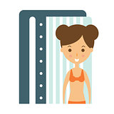 Woman Taking Tan In Solarium Cabin To Prepare For Sunbathing, Part Of Summer Beach Vacation Series Of Illustrations