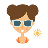 Woman Smiling In Dark Glasses Enjoying The Sun, Part Of Summer Beach Vacation Series Of Illustrations