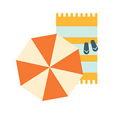 Set Of Blanket , Umbrella And Flip-Flops On The Sand, Part Of Summer Beach Vacation Series Of Illustrations