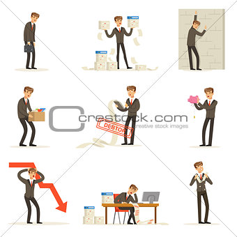 Business Fail And Manager Suffering Loss And Being In Debt Set Of Bankruptcy And Company Failure Vector Illustrations