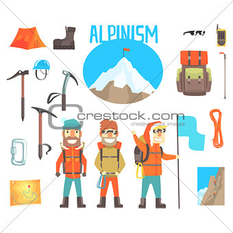 Three Mountaineers And Mountaineering Equipment Set Of Alpinism And Alpinist Tools Vector Illustrations