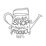 Garden Shop 100 Percent Organic Product Black And White Promo Sign Design Template With Calligraphic Text