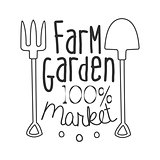 100 Percent Farm Garden Market Black And White Promo Sign Design Template With Calligraphic Text