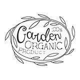 Garden Organic Product Black And White Promo Sign Design Template With Calligraphic Text And Floral Frame