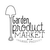 Garden Product Market Black And White Promo Sign Design Template With Calligraphic Text