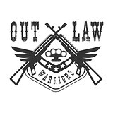Criminal Outlaw Street Club Black And White Sign Design Template With Text And Winged Rifles