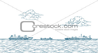 Cargo ships, clouds, sea