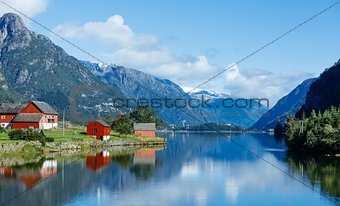 Tipical red fishing houses. Norway