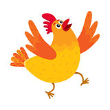 Funny cartoon chicken, hen surprised or jumping from happiness
