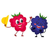 Cute, funny comic style raspberry and blackberry characters