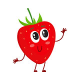 Cute and funny comic style garden strawberry character looking up