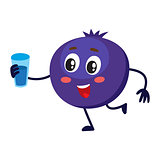 Cute and funny comic style blueberry character holding a glass