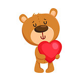 Cute traditional, retro style teddy bear character holding red heart