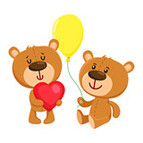 Two cute teddy bear characters, birthday party celebration
