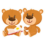 Two retro style teddy bear characters sitting and reading book