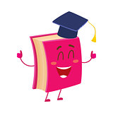 Funny book character in graduation cap showing thumbs up