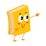 Funny book character pointing to something with finger