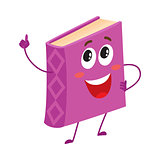 Funny purple book character pointing up with index finger