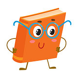 Funny orange book character in round blue nerdish glasses
