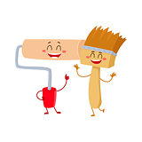 Funny paint roller tool character smiling and giving thumb up