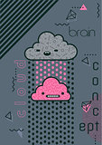 Trendy memphis style conceptual illustration of a brain connecting to cloud. Cute funny kawaii mascot characters