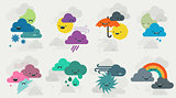 Cute weather emojis characters collection