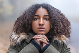 Mixed Race African American Girl Teenager in Mist