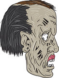 Zombie Head Side Drawing