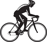 Road Cyclist Racing Woodcut